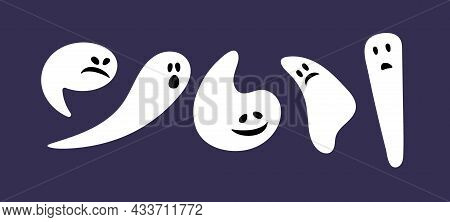 Halloween Set. Isolated Flat Cartoon Vector Illustrations. Ghosts With Different Emotions. Spooky Bo