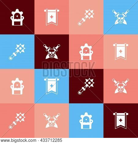Set Pop Art Medieval Throne, Flag, Mace With Spikes And Skull Sword Icon. Vector