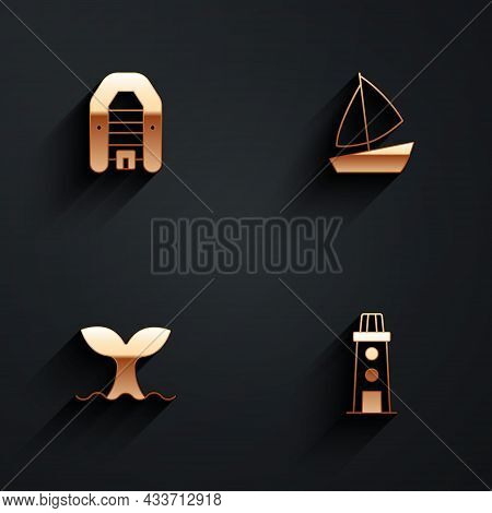 Set Inflatable Boat With Motor, Yacht Sailboat, Whale Tail And Lighthouse Icon With Long Shadow. Vec