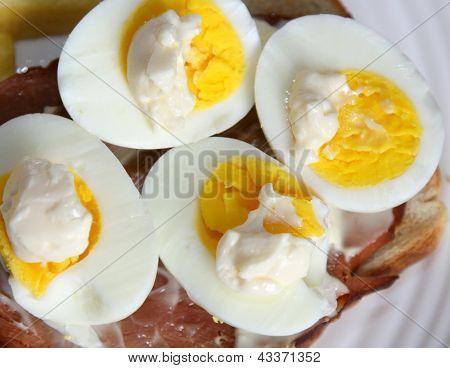 Halved egg yolks with mayonnaise