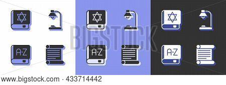 Set Decree, Parchment, Scroll, Jewish Torah Book, Translator And Table Lamp Icon. Vector