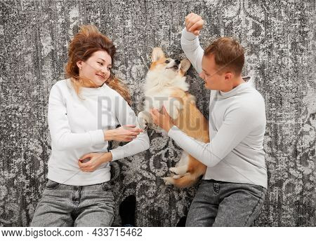 Top View Of Couple Lying On Gray Background And Happily Caressing Their Pet. Nice Moment Of Sincere