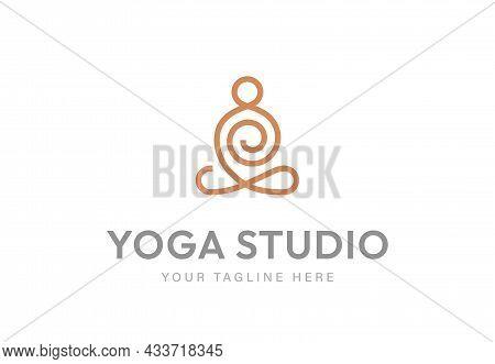 Abstract Monoline Yoga Human Linear Logo. Meditation Line Icon.
