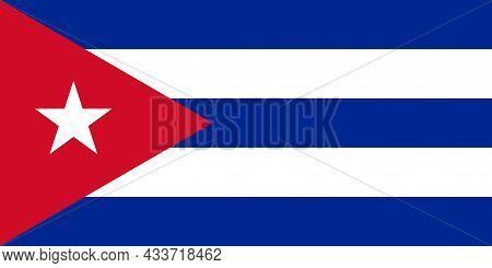 National Flag Of Cuba Original Size And Colors Vector Illustration, Bandera De Cuba Or Estrella Soli