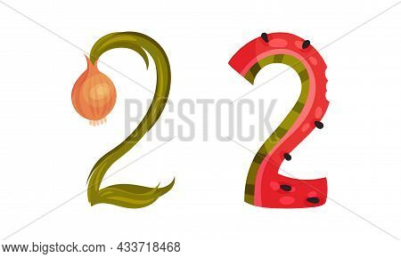 Number 2 Two Made Of Fresh Onion And Watermelon Cartoon Vector Illustration