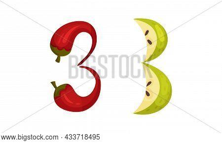 Number 3 Three Made Of Fresh Hot Chilli Pepper And Apple Cartoon Vector Illustration