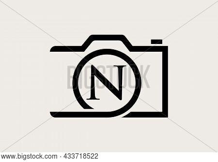 Photography Logo Design On Letter N. Letter N Photography Logo Design. Camera Logo Design Inspiratio