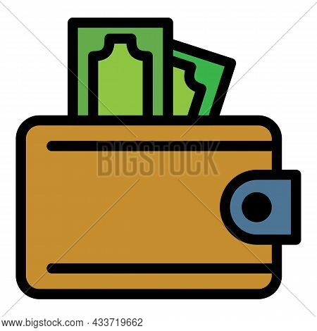 Cash Wallet Icon. Outline Cash Wallet Vector Icon Color Flat Isolated