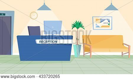 Reception Interior Concept In Flat Cartoon Design. Waiting Hall Lobby With Table With Computer, Sofa