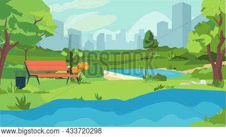 Summer City Park Concept In Flat Cartoon Design. Public Recreation Garden With Lake Or River, Bench,