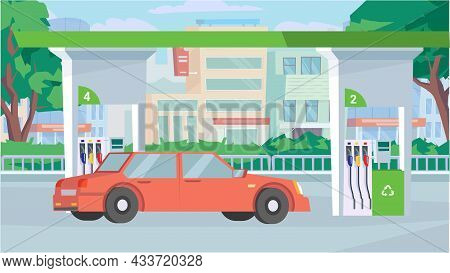 Car At Gas Station Concept In Flat Cartoon Design. Station Exterior, Refueling Facility Service, Cit