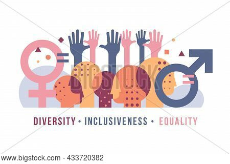 Inclusiveness Diversity Equality Concept With Abstract Modern Various People Is Heads, Gender Symbol