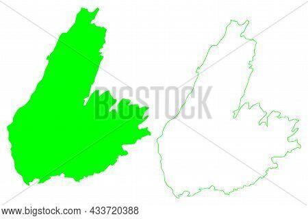 Cape Breton Island (canada, North America, Nova Scotia Province) Map Vector Illustration, Scribble S