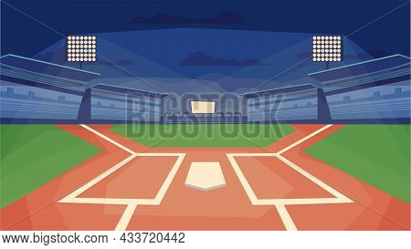 Baseball Stadium Concept In Flat Cartoon Design. Sports Field With Base, Floodlights, Spectator Stan