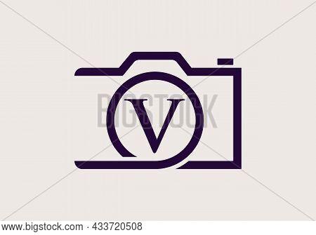 Photography Logo Design On Letter V. Letter V Photography Logo Design. Camera Logo Design Inspiratio