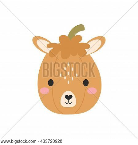 Happy Halloween Cute Cartoon Pumpkin With Alpaca Face. Halloween Party Decor For Children. Childish