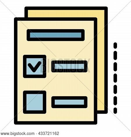 Archive Check Sheet Icon. Outline Archive Check Sheet Vector Icon Color Flat Isolated