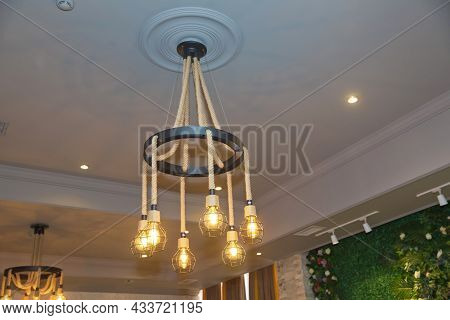 The Metal Cage And Rope Hanging Contemporary Design Cafe And Home Decorative Chandelier . Round Hemp