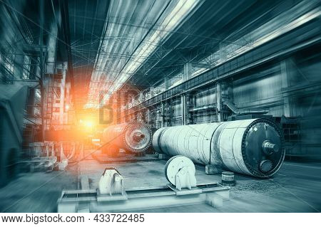 Abstract Industrial Interior With Light In End Of Workshop Corridor. Metalworking Factory. Machine T