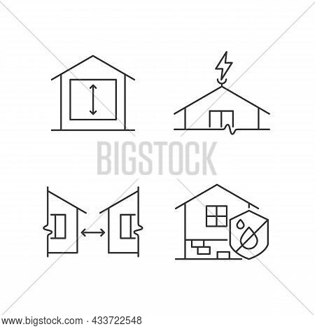 Building Safe House Linear Icons Set. Minimum Ceiling Heights. Lightning Rod. Damp Proofing. Customi