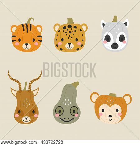 Happy Halloween Cute Collection Of Cartoon Pumpkins With Animal Faces. Halloween Party Decor For Chi