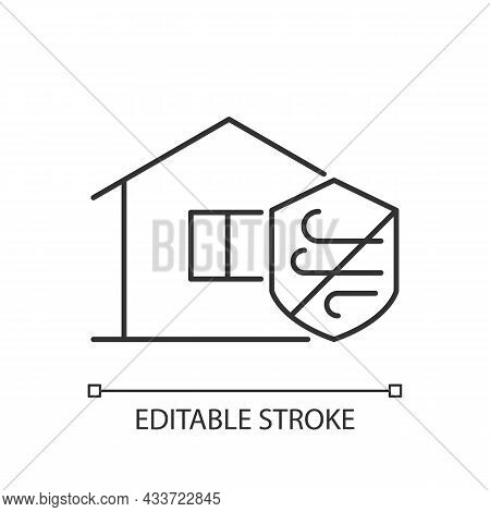 Weather Resistance Linear Icon. Weatherproofing Apartment Building. Hurricane-resistant Home. Thin L