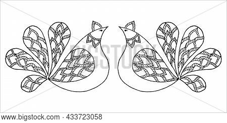 Two Symmetrically Free Hand Drawn Stylized Proud Hen Birds Looking At Each Other, In Doodle Or Sketc