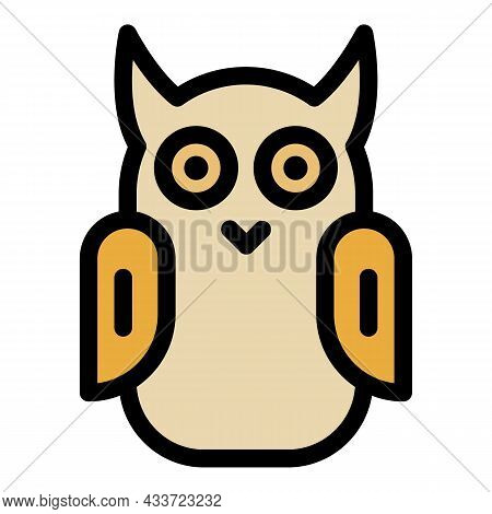 Long Eared Owl Icon. Outline Long Eared Owl Vector Icon Color Flat Isolated