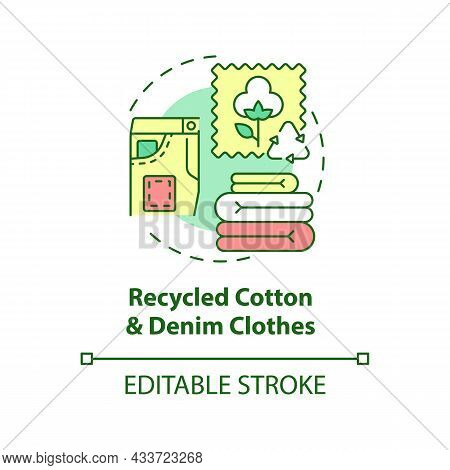 Recycled Cotton, Denim Clothes Concept Icon. Recycling Of Waste. Nature, Environment Protection Abst