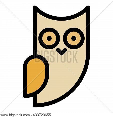 Little Owl Side View Icon. Outline Little Owl Side View Vector Icon Color Flat Isolated