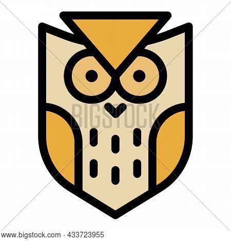 Coat Of Arms Of An Owl Icon. Outline Coat Of Arms Of An Owl Vector Icon Color Flat Isolated