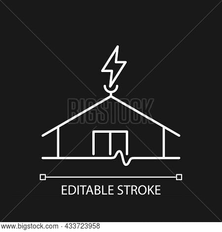 Lightning Rod White Linear Icon For Dark Theme. Protecting Buildings From Lightning Strike Damage. T