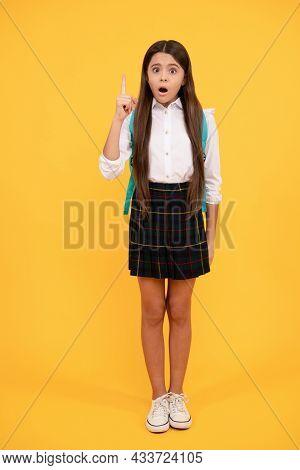 September 1. Happy Childhood. Child With School Bag. Full Length. Teen Girl