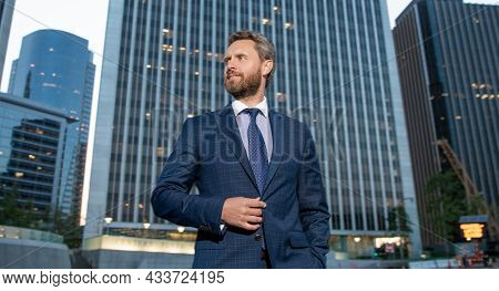 Grizzled Mature Businessman In Formalwear. Business Success. Successful Man In Businesslike Suit