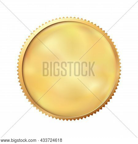 Golden Coin, Empty Template. Blank Round Yellow Metal Medal. Heads Or Tails For Decoration And Desig