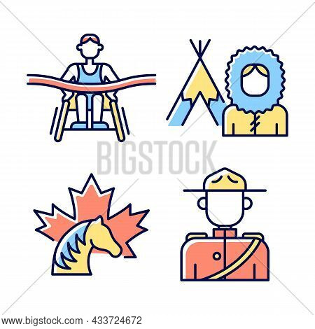 People Of Canada Rgb Color Icons Set. Famous Para Athletes. Mounted Police Uniform. Inuit Nationalit