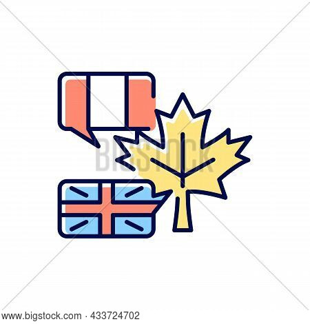Bilingual Country Rgb Color Icon. French And English Speaking Population. Mother Tongue. Two Officia