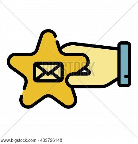 Star In Hand Message Icon. Outline Star In Hand Message Vector Icon Color Flat Isolated