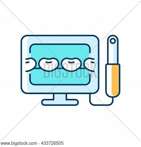 Intraoral Camera Rgb Color Icon. Oral Health Condition Diagnosis. Capturing Teeth Video Image. Denta