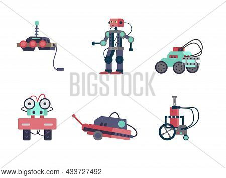 Vector Set Of Robots And Mechanisms. Robotics And Programming For Kids. Isolated On White.