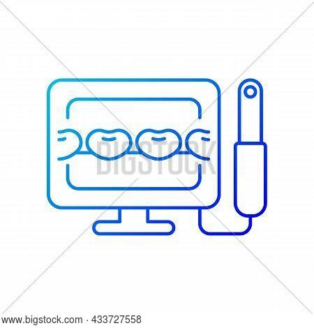Intraoral Camera Gradient Linear Vector Icon. Oral Health Condition Diagnosis. Capturing Teeth Video