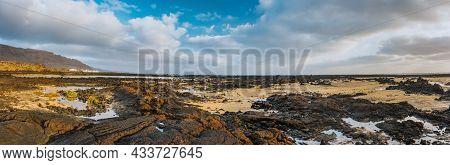 Incredible Low Tide Coastside Of Lanzarote. Acanary Islands. Spain