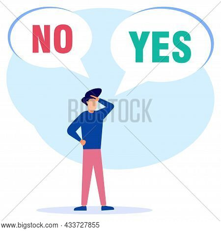 Vector Illustration Of Concept Selection By Office Workers. Symbolic Scenes With Yes Or No Answers A