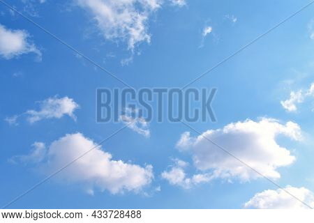 White Clouds With Blue Sky In A Sunny Day. Pastel Colour Of Sky In The Morning. Concept Of New Life