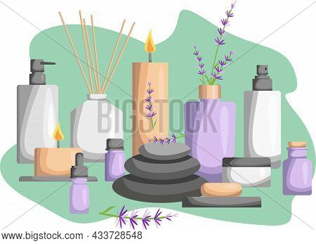 Illustration For A Spa Salon. Candles, Oils, Depilation. Beauty Treatments And Spa Relaxation For Th