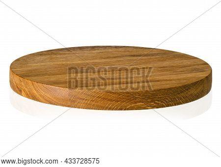 Round Shape Oak Cutting Board On White Background