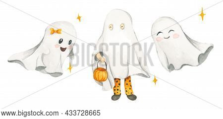 Watercolor Set With Cute Ghosts. Kid  In Sheet Costume. Halloween Costumes. Autumn Holiday. Trick Or
