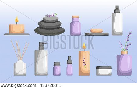 Illustration For A Spa Salon. A Drawn Set Of Spa Attributes. A Template For The Design Of A Spa Salo