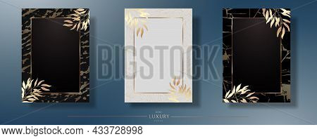 Gold Frame With Leaves. A Set Of Three. Wedding Invitation With Golden Branches, Black, White Templa