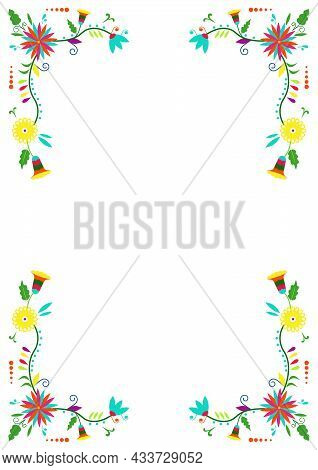 Mexican Traditional Otomi Embroidery Style. Flower Ornamental Frame Isolated On White Background . C